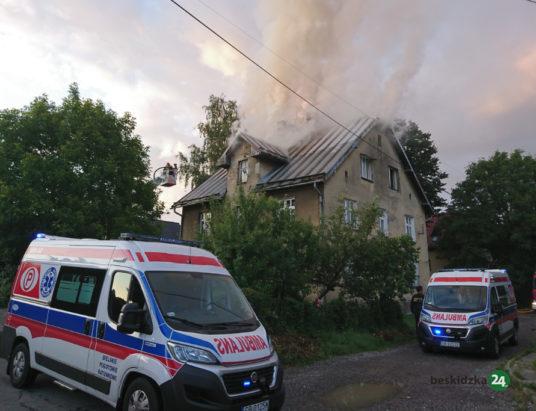 Pożar budynku w Straconce