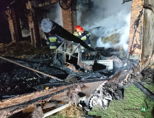 Pożar stodoły na Łuczników (zdjęcia i wideo)