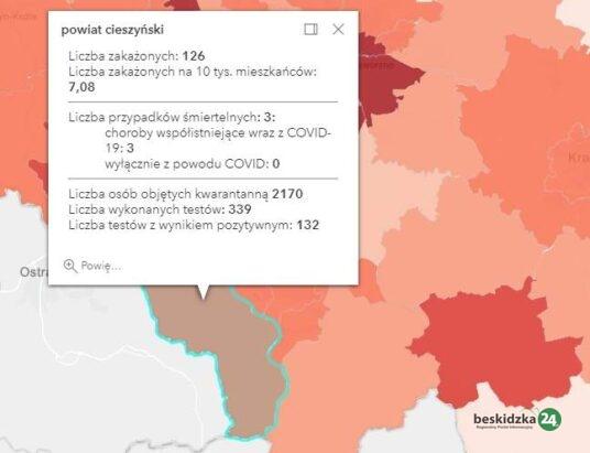 Zachorowań wciąż dużo. 21 703 w kraju, 3496 na Śląsku i 132 w cieszyńskim
