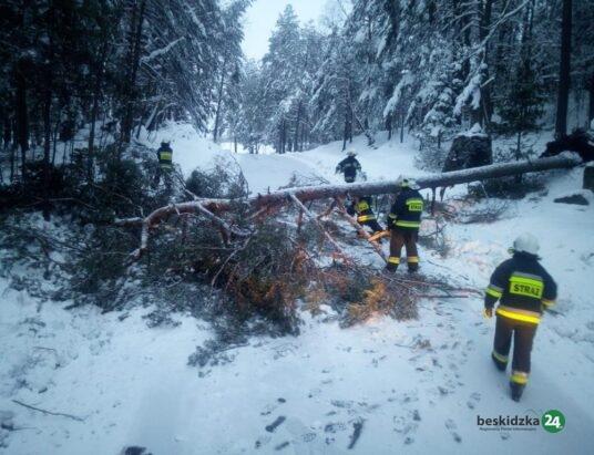 Śniegowe interwencje w powiecie suskim